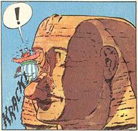 Obelix breekt de neus van de Sfinx